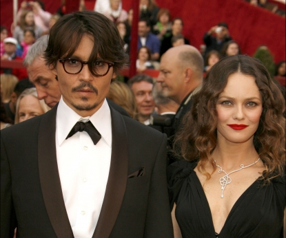 Johnny Depp and Vanessa Paradis attend the 80th Annual Academy Awards at the Kodak Theatre in Los Angeles on February 24, 2008