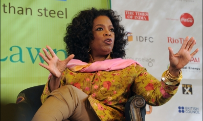 Oprah Winfrey gestures while in conversation with the press during the Jaipur Literature Festival (JLF) in Jaipur, India on January 22, 2012
