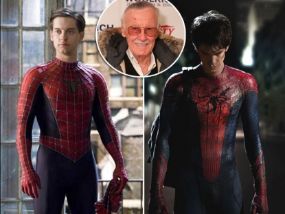 Tobey Maguire and Andrew Garfield as Spider-Man / inset: Stan Lee