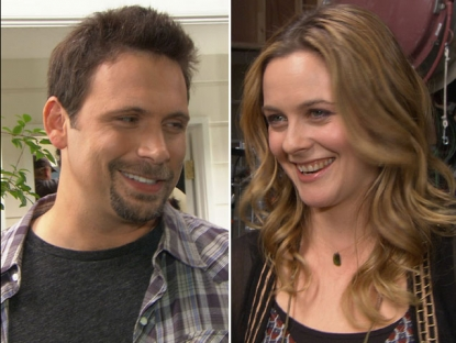 Alicia Silverstone and Jeremy Sisto on the set of 'Suburgatory' in Los Angeles on January 25, 2012