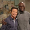 Seal and Billy Bush pose on the set of Access Hollywood Live on January 27, 2012