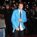 Justin Bieber rocks a blue jacket as he arrives at NRJ Music Awards 2012 at Palais des Festivals in Cannes, France, on January 28, 2012