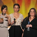 Kristen Wiig, Maya Rudolph and Melissa McCarthy speak onstage during the 18th Annual Screen Actors Guild Awards at The Shrine Auditorium in Los Angeles on January 29, 2012 