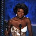 Viola Davis accepts the Outstanding Performance by a Female Actor in a Leading Role award for 'The Help' onstage during the 18th Annual Screen Actors Guild Awards at The Shrine Auditorium in Los Angeles on January 29, 2012