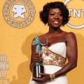 Viola Davis holds the award for Outstanding Performance By A Female Actor In A Leading Role for, &#8216;The Help&#8217; in the press room at the 18th Annual Screen Actors Guild Awards at the Shrine Auditorium in Los Angeles on January 29, 2012
