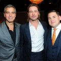 George Clooney, Brad Pitt and Jonah Hill attend the 84th Academy Awards Nominations Luncheon at The Beverly Hilton hotel on February 6, 2012 in Beverly Hills, Calif.