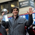 New York Giants Eli Manning attends the New York Giants Victory Parade following their Super Bowl XLVI win down the Canyon of Heroes on the streets of Manhattan on February 7, 2012