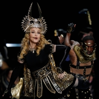 Madonna performs during the  Super Bowl XLVI Halftime Show at Lucas Oil Stadium on February 5, 2012