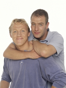 Jerome Flynn and Robson Green  pose at a studio session, London, on August 01, 1998