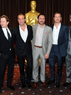 Gary Oldman, Jean Dujardin, Demian Bichir, Brad Pitt and George Clooney pose for pictures inside the 84th Academy Awards Nominations Luncheon at The Beverly Hilton hotel on February 6, 2012 in Beverly Hills, Calif.