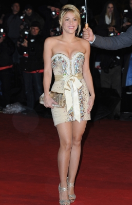 Shakira poses as she arrives at NRJ Music Awards 2012 at Palais des Festivals in Cannes, France, on January 28, 2012
