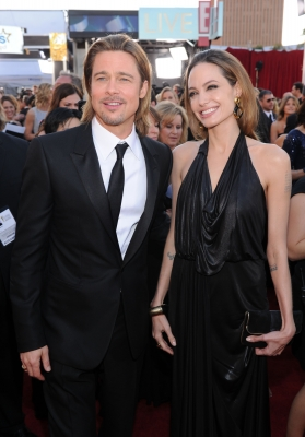 Brad Pitt and Angelina Jolie arrive at the 18th Annual Screen Actors Guild Awards at The Shrine Auditorium in Los Angeles on January 29, 2012