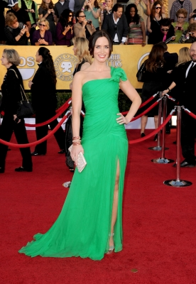 Emily Blunt arrives at the 18th Annual Screen Actors Guild Awards at The Shrine Auditorium in Los Angeles on January 29, 2012