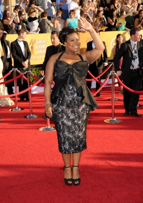 Amber Riley arrives at the 18th Annual Screen Actors Guild Awards at The Shrine Auditorium in Los Angeles on January 29, 2012
