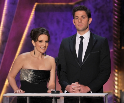 Tina Fey and John Krasinski speak onstage during the 18th Annual Screen Actors Guild Awards at The Shrine Auditorium in Los Angeles on January 29, 2012