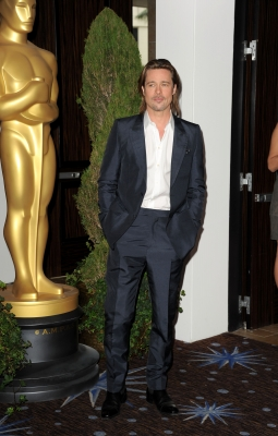 Brad Pitt arrives at the 84th Academy Awards Nominations Luncheon at The Beverly Hilton hotel on February 6, 2012 in Beverly Hills