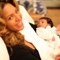 Beyonce holds baby Blue Ivy Carter in a photo posted on Jay-Z&#8217;s site LifeAndTimes.com