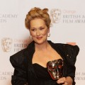 Meryl Streep poses with her Best Actress Award in the press room at The Orange British Academy Film Awards 2012 at The Royal Opera House, London, on February 12, 2012