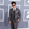 Bruno Mars makes a fashion statement with his vintage-inspired shades and suit at the 54th Annual Grammy Awards held at Staples Center in Los Angeles on February 12, 2012