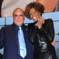 Clive Davis and Whitney Houston on stage at her &#8216;I Look To You&#8217; album listening party at Jazz at Lincoln Center in New York City on July 21, 2009