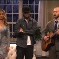 "Maya Rudolph, Jay Pharoah, Justin Timberlake and Andy Samberg perform in a scene on ""Saturday Night Live"" on February 18, 2012"