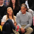 Beyonce and Jay-Z are spotted at the New Jersey Nets v New York Knicks game at Madison Square Garden in New York City on February 20, 2012 