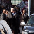 Bobby Brown and entourage exit Whitney Houston&#8217;s funeral in Newark, New Jersey, on February 18, 2012