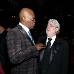 Samuel L. Jackson and director George Lucas attend the 43rd NAACP Image Awards held at The Shrine Auditorium, Los Angeles, on February 17, 2012