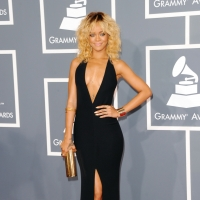 Rihanna stuns in a plunging black gown at the 54th Annual Grammy Awards held at Staples Center in Los Angeles on February 12, 2012