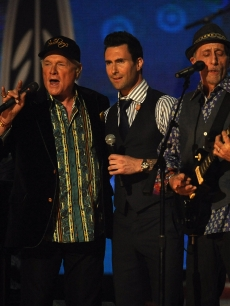 The Beach Boys perform with Maroon 5 at The 54th Annual Grammy Awards at Staples Center in Los Angeles on February 12, 2012