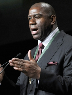 Magic Johnson performs his acceptance speech at the 2011 California Hall of Fame Inductee Ceremony at the California Museum, Sacramento, on December 8, 2011