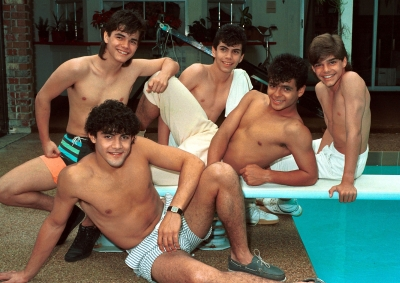 A young Ricky Martin (far left) with boy band Menudo early 1980s in San Juan, Puerto Rico. 