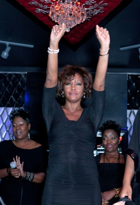 Whitney Houston on stage at the Kelly Price &amp; Friends Unplugged: For The Love Of R&amp;B GRAMMY Party at Tru Hollywood, in Hollywood, on February 9, 2012