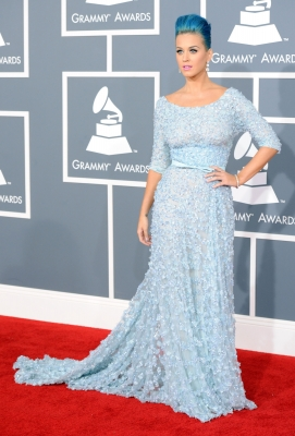 Katy Perry sports a blue gown and matching blue hair at the 54th Annual Grammy Awards held at Staples Center in Los Angeles on February 12, 2012