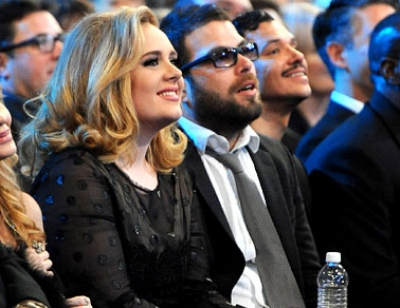 Adele and boyfriend Simon Koneck are seen in the audience at the Grammy Awards in Los Angeles on February, 13, 2012