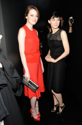 Emma Stone and Rooney Mara attend the Fall 2012 Calvin Klein Collection fashion show in New York City on February 16, 2012