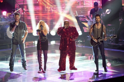 Blake Shelton, Christina Aguilera, Cee Lo Green and Adam Levine perform a Prince medley on 'The Voice' Season 2, NBC
