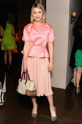 Dianna Agron is pretty in pink  at the Marni at H&M Collection Launch at Lloyd Wright's Sowden House in Los Angeles on February 17, 2012