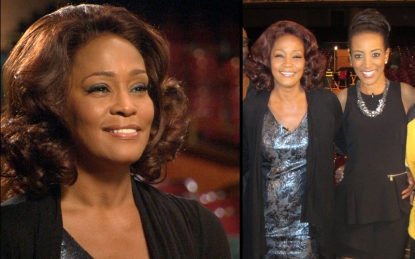 Whitney Houston (left) in her last one-on-one interview, which was conducted by Access Hollywood's Shaun Robinson (far right), 2011