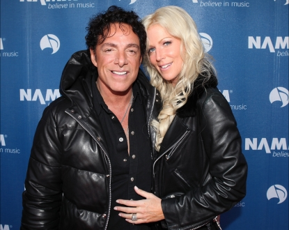 Neal Schon of Journey and girlfriend Michaele Salahi attend the 110th NAMM Show - Day 2 at the Anaheim Convention Center, Anaheim, Calif., on January 20, 2012