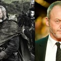 Liam Cunningham as Davos Seaworth (left) and at the 'War Horse' premiere in London (right)