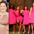 Maya Rudolph, Melissa McCarthy, and the ladies from &#8216;Glee&#8217; in the &#8216;Bridesmaids&#8217; poster pose