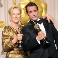 Oscar winners Meryl Streep & Jean Dujardin pose in the press room at the 84th Annual Academy Awards on February 26, 2012 in Los Angeles