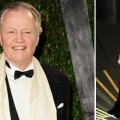 Jon Voight at the Vanity Fair Oscar party (left), Angelina Jolie on stage at the Oscars (right), Hollywood, February 26, 2012