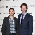 D.B. Weiss and David Benioff attend the DVD launch of the complete first season of 'Game Of Thrones' at Old Vic Tunnels, London, on February 29, 2012