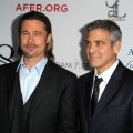 Brad Pitt and George Clooney arrive at the premiere of '8' presented by The American Foundation For Equal Rights & Broadway Impact at The Wilshire Ebell Theatre on March 3, 2012 in Los Angeles