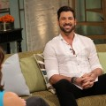 Kit Hoover and guest co-host Chris Harrison interview Maksim Chmerkovskiy on Access Hollywood Live, Burbank, March 5, 2012
