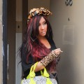 Nicole 'Snooki' Polizzi films a scene of her 'Jersey Shore' spinoff reality show at her apartment in Jersey City, New Jersey on March 8, 2012