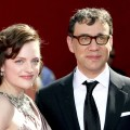 Elisabeth Moss and Fred Armisen arrive at the 61st Primetime Emmy Awards held at the Nokia Theatre in Los Angeles on September 20, 2009
