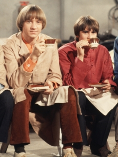 Davy Jones, Mickey Dolenz, Peter Tork and Mike Nesmith on the set of the television show &#8216;The Monkees&#8217; in Los Angeles in December 1967 